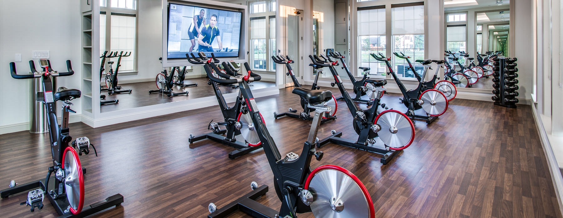 spin cycles in well lit fitness center